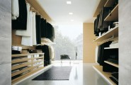 Simple Tips In Planning Walk In Closet Design : Minimalist Wooden Racks For The Outfits With Dazzling Scenery View