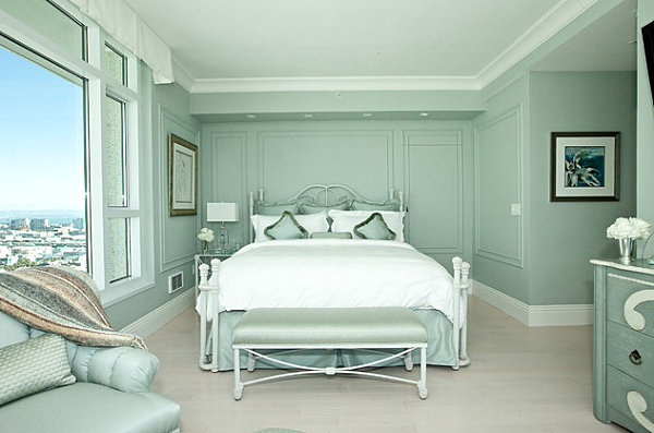 Artistic Pastel Color Palette Decoration : Mint Green Penthouse Bedroom