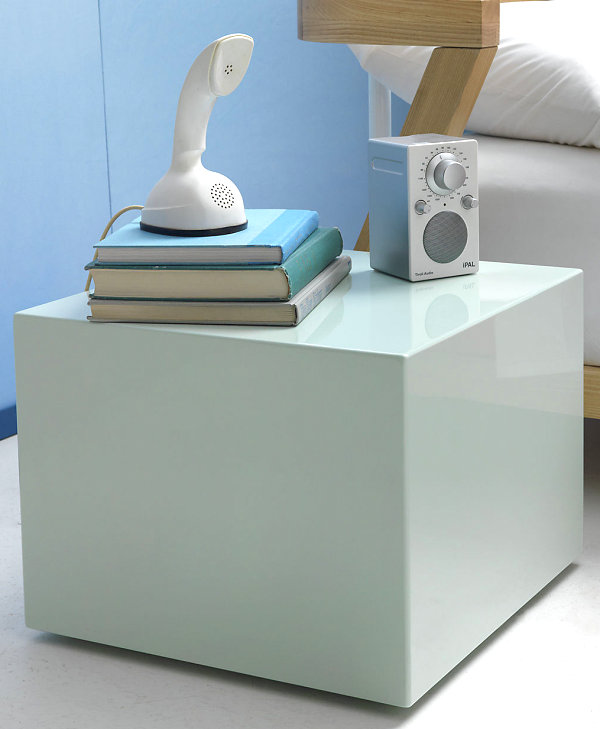 Vintage Bedroom Review As Furniture For 1950`s : Mint Lacquered Cube Side Table Decorated With Old Phone And Stacked Books