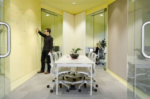 Remarkable Open Office Design Of Portland Based Firm: Modern And Clever Meeting Room Design With Chalkboard Wall ~ stevenwardhair.com Office & Workspace Design Inspiration