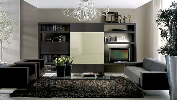 Amazing Elegant Living Room Design To Enhance Your Interior Decoration : Modern And Elegant Black Living Room Design With Leather Sofas
