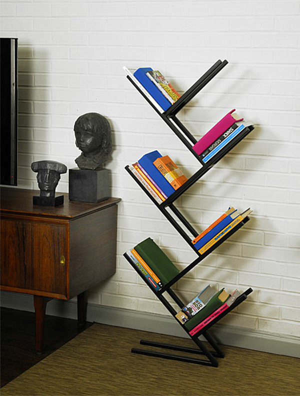 Modern Bookshelves With Different Unique Angle: Modern Angled Freestanding Bookshelf