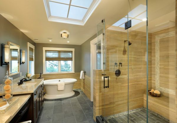 Glass Shower Door For Bigger Impression: Modern Bathroom In Yellow And Gray With Spacious Glass Shower Area