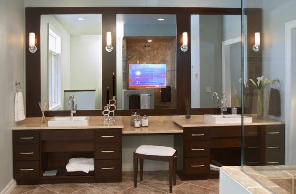 Bathroom Vanity; Personal Taste In Your Bath Room : Modern Bathroom Vanity Design With Stunning Use Of Mirrors And Lighting Above It