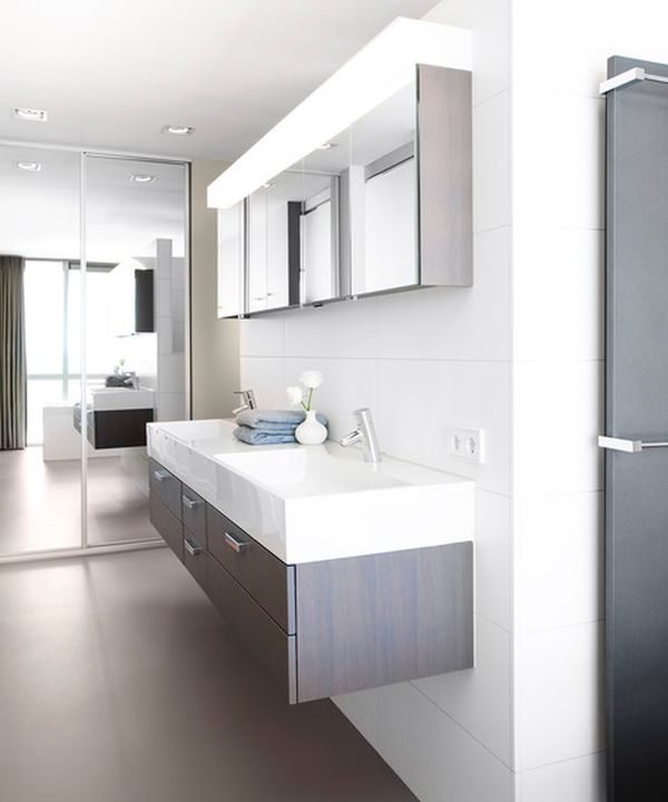 Floating Cabinet And Vanity Set For Every Home: Modern Bathroom With Floating Double Sink Design In White And Gray