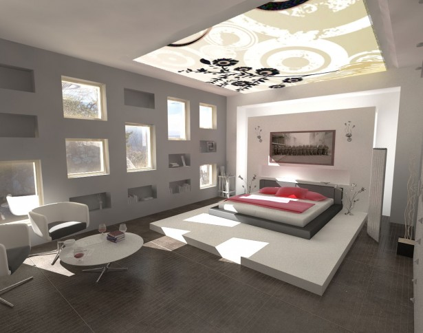 Futuristic Cool Interior Design With Wonderful Lightings: Modern Bed Artistic Ceiling Decoration Cool Interior Design ~ stevenwardhair.com Interior Design Inspiration