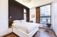 Contemporary Apartment Design In Iconic New York Area : Modern Bedroom At SoHo Apartment With Hardwood Floor Ideas