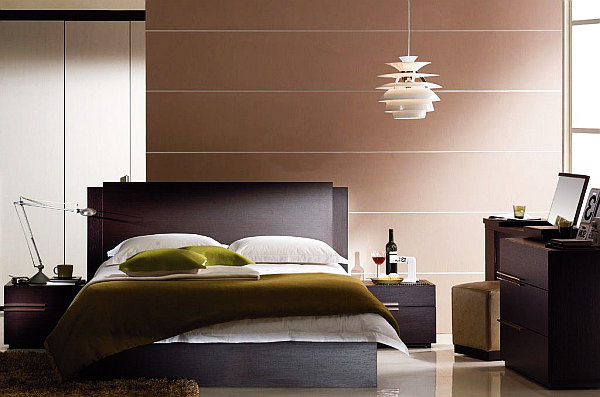Cool Interior Lighting Design To Glow Up Your Home Interior In Style : Modern Bedroom With Contemporary Lights Fixtures With Hardwood Backsplash