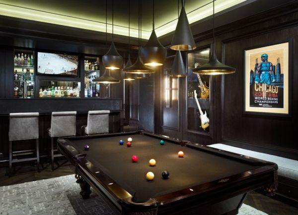Pleasurable Billiard Room Designs, Decoration And Furniture: Modern Billiard Table And Posters Add Color And Character To The Game Room ~ stevenwardhair.com Interior Design Inspiration