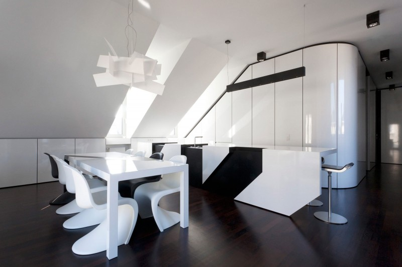 Monochrome Modern Apartment With Round Edge : Modern Black And White Themed Nic Nlab House Interior Displaying Parallel Kitchen And Clean Dining Room Idea