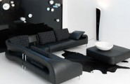 Black Sofas Of Modern Look In A Living Room : Modern Black Sofa Design