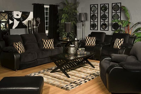 Mor Furniture Portland In Modern Style For Happy Family: Modern Black Sofa Wooden Living Room Mor Furniture Portland