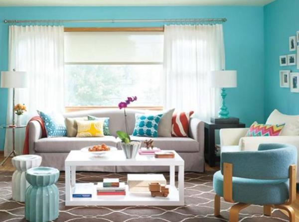 Lively Color Schemes For Living Rooms As You Spirit Encouragement: Modern Blue Living Room Color Schemes