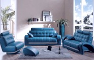 Best Sofas For Modern Futuristic Houses : Modern Bolzano Blue Leather Furniture Set For Living Room