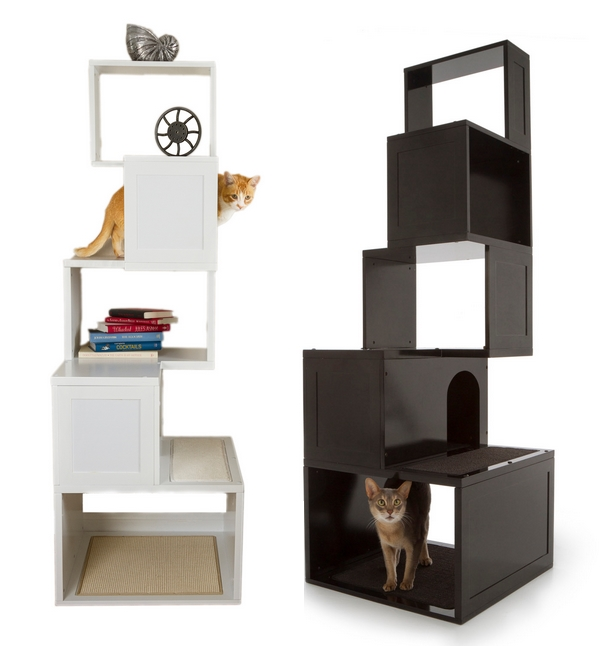 Unique Stylish Pet Furniture And Accessories (20 Pictures): Modern Cat Trees In Black And White ~ stevenwardhair.com Tips & Ideas Inspiration