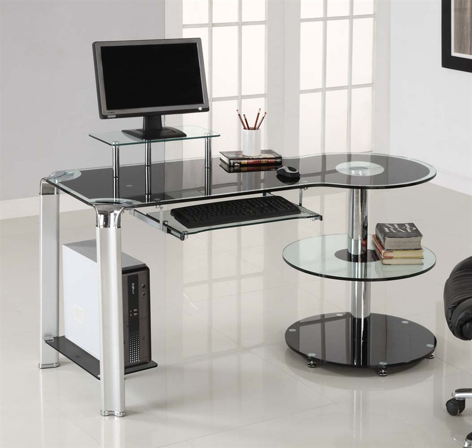 Minimalist Computer Desk For Better Productivity: Modern Computer Furniture With Clear Glass For Computer Desk At Home