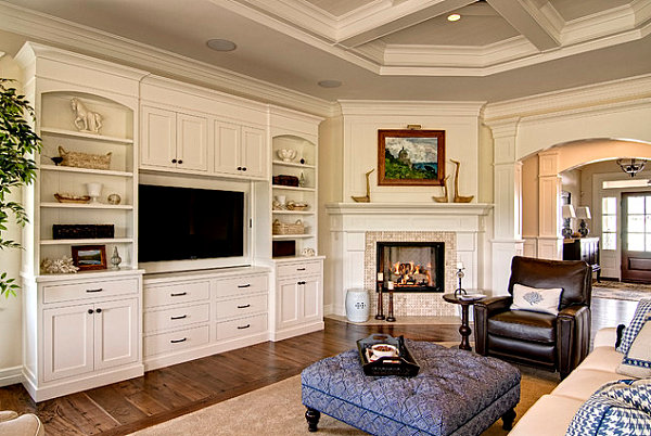 Well Groomed Corner Fireplace Ideas: Modern Corner Fireplace In A Room With Traditional Elements