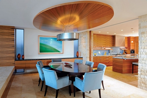 Fascinating Dining Room Decoration Offers Comfort Taste: Modern Dining Room With Wrapped Ceiling Design