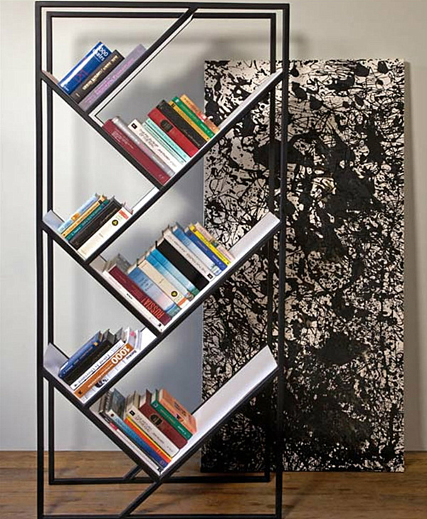 Modern Bookshelves With Different Unique Angle: Modern Freestanding Bookshelf With Slanted Shelves