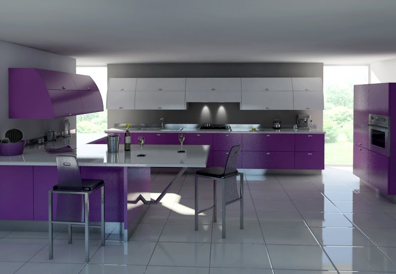 Purple Kitchen For Sensational Design Ideas: Modern Gray And Purple Kitchen Furniture
