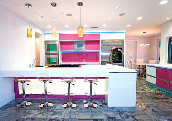 Chic Neon Lighting In Kitchen: 12 Images: Modern Kitchen Neon Lighting