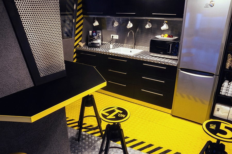Wonderful Modern Office Design With White Pipes Exposed : Modern Kitchen With Spaceship Theme Black And Yellow Color Interior Design