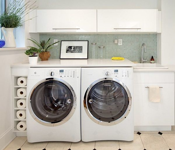 Wonderful Laundry Room With Smart Arrangement To Create Compact Environment: Modern Laundry Room With Folding Table Above