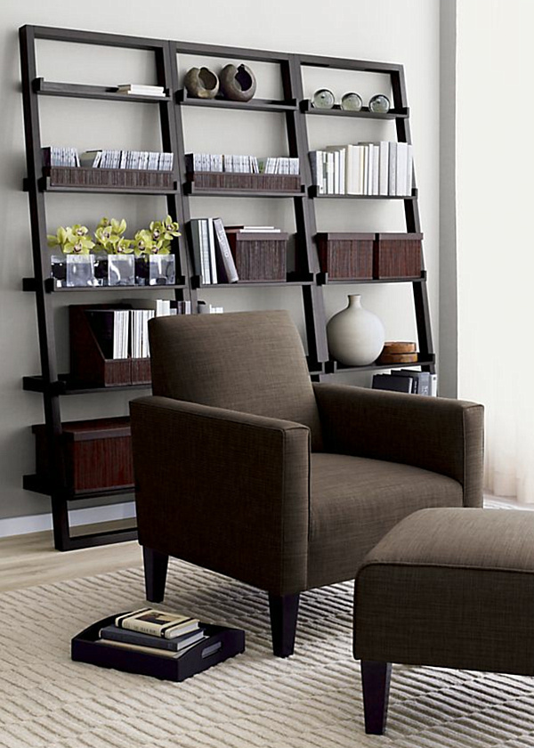 Modern Bookshelves With Different Unique Angle: Modern Leaning Wooden Bookshelves