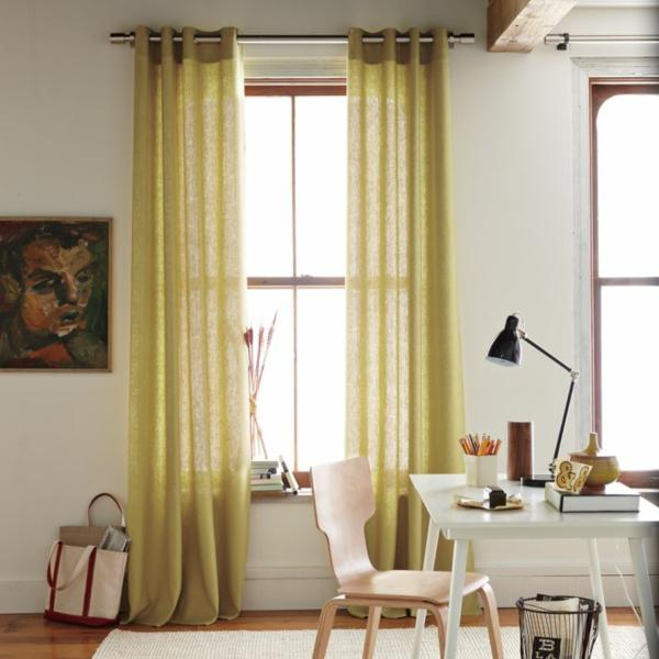 Attract Your Interior With Modern Curtain Panels: Modern Linen Gromet Window Panel