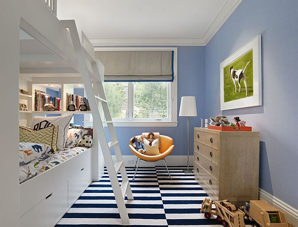 Teenage Bedroom Ideas Of Boys And Girls: Modern Loft Bunk Bed Teenage Bedroom Ideas White And Blue Stripes Floor