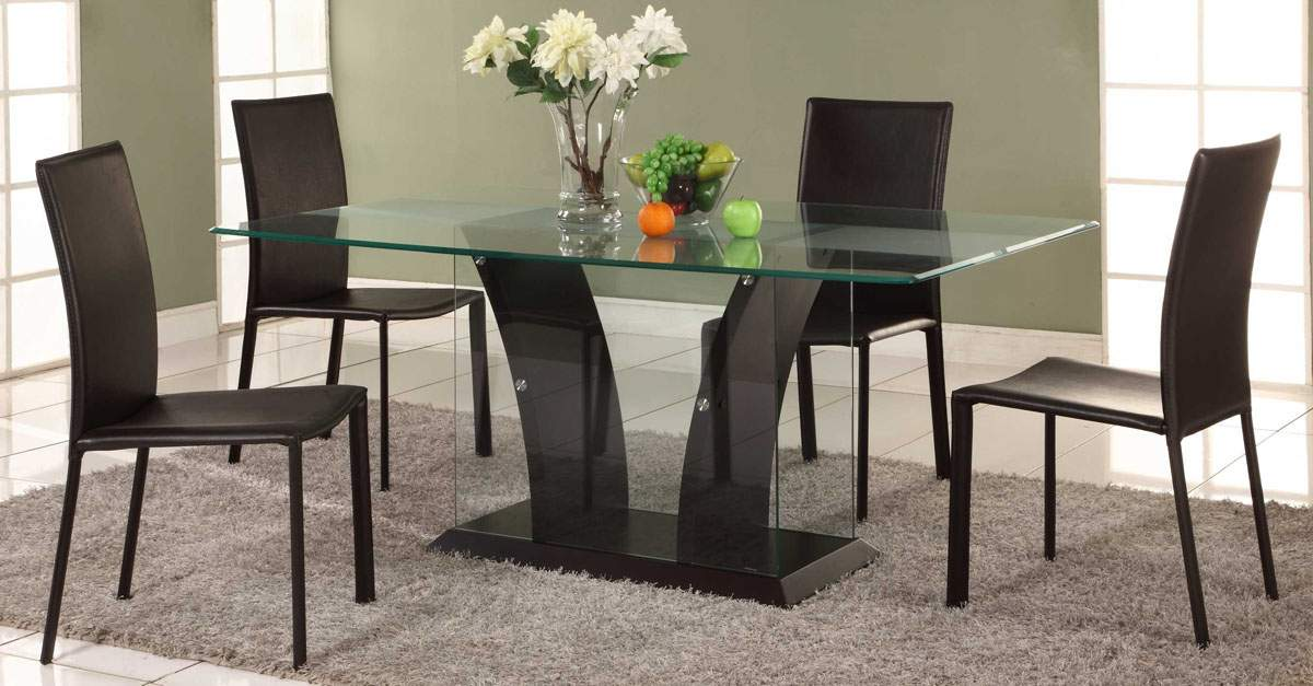Varied Kitchen Table Sets For The House : Modern Luxury Kitchen Table Sets Design Glass Frame Table