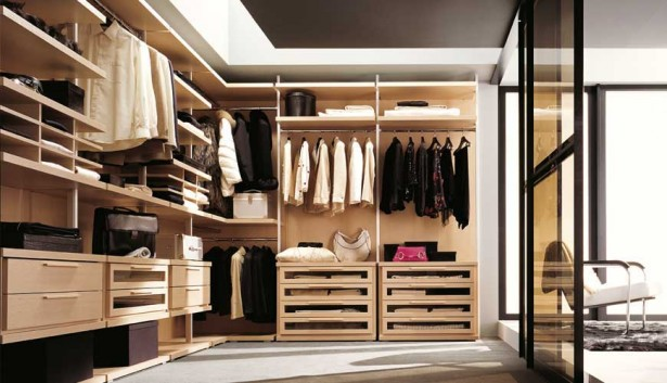 Walk In Wardrobe Designs For Well Organized Clothing: Modern Minimalist Wooden Style Bright Interior Walk In Wardrobe Designs ~ stevenwardhair.com Closets Inspiration