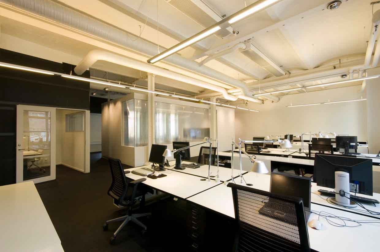 Pleasant Minimalist Office Means Valuable Assets For The Company : Modern Office Interior Design With Hanging Lamp