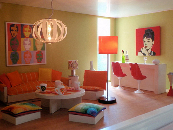 Beautiful Orange Interior Paint To Energize Your Life Every Day! : Modern Orange Living Room Design Applied Wood Floor