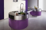 Purple Kitchen For Sensational Design Ideas : Modern Purple Kitchen With Cylindrical Fan Above Stainless Steel Countertop