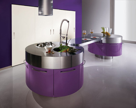 Purple Kitchen For Sensational Design Ideas: Modern Purple Kitchen With Cylindrical Fan Above Stainless Steel Countertop
