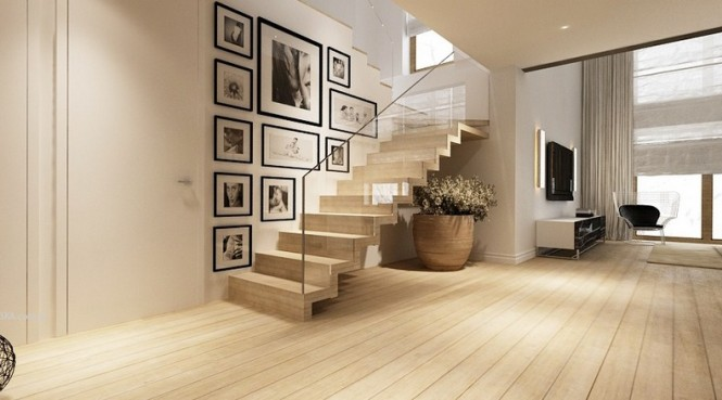 Perfect Interior Design Idea For Our Design Space : Modern Resplendent Design Staircase Glass Balustrade Wooden Floor