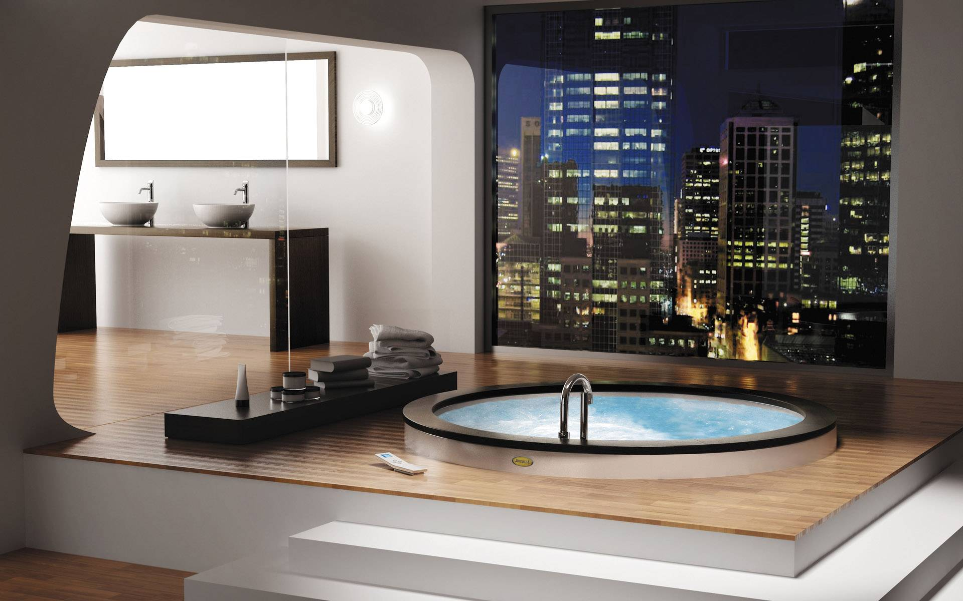 Extraordinary Luxury Bathrooms With High Gloss Finish Washing Stand: Modern Round Bathtub Amazing City View Luxury Bathrooms Design