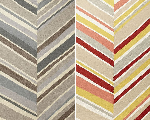 Stylish Triangular Wall Design For Colorful Interior Decoration: Modern Rug Rugs Design Featuring A Large And Patterned Chevron Pattern