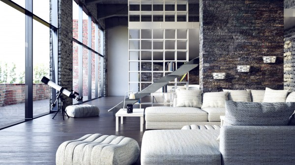 Mesmerizing Loft Decor With Dazzling Natural Look: Modern Spacious Living Room Beautiful Urban Loft Stone Wall