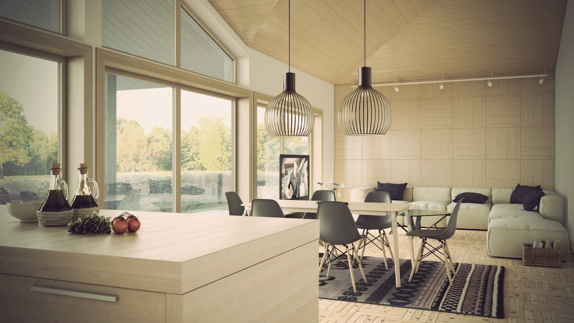 Wonderful Living And Dining Space In One: Modern Statement Lighting