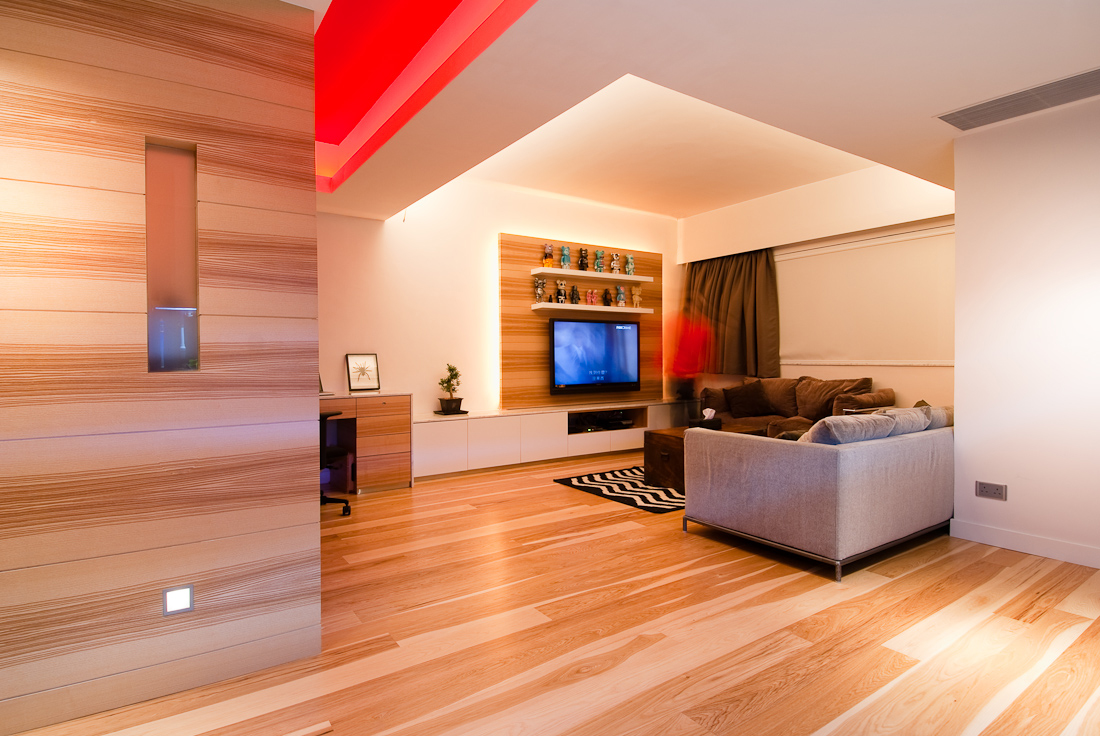 Extraordinary Wood Living Room Reflecting Natural And Warm Character : Modern Style Wood Living Room Grey Sofa Tv Wall Intertainment