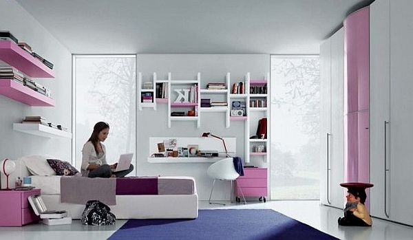 Fantastic Teen Rooms Designs Teenagers Will Love: Modern Teenagers Room Pink Purlpe And White Furniture Ideas