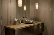 Bathroom Sink For Two : Modern Tiled Bathroom With Stylish Pendant Lamps