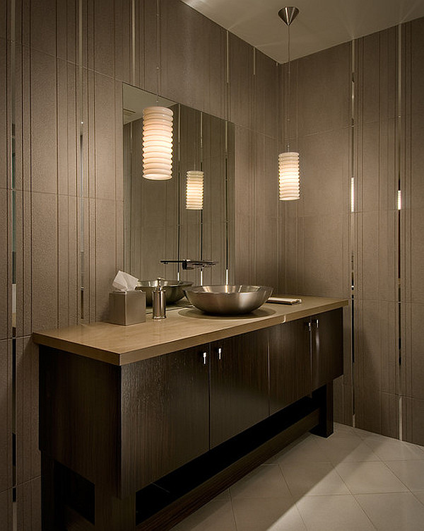 Bathroom Sink For Two: Modern Tiled Bathroom With Stylish Pendant Lamps