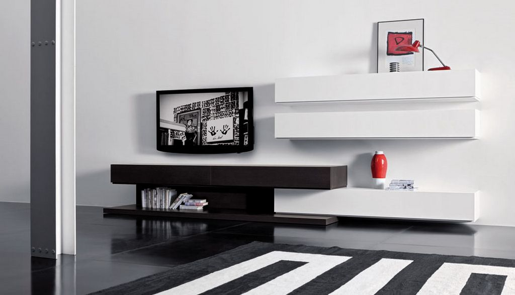 Futuristic TV Unit Design Supplied With Hidden Lights And Bookcase: Modern TV Unit Design Dark Floor White Floating Shelves