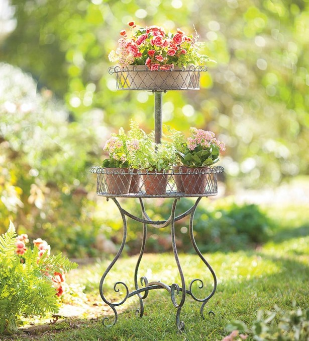 Colorful Verdigris Planter In Unique Design: Modern Verdigris Planter Design With Beautiful Rose Backyard Garden ~ stevenwardhair.com Furniture Inspiration