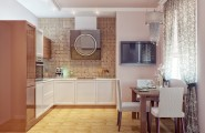 Exciting Kitchen Dining Ideas For Small House : Modern Walnut White Kitchen Dining