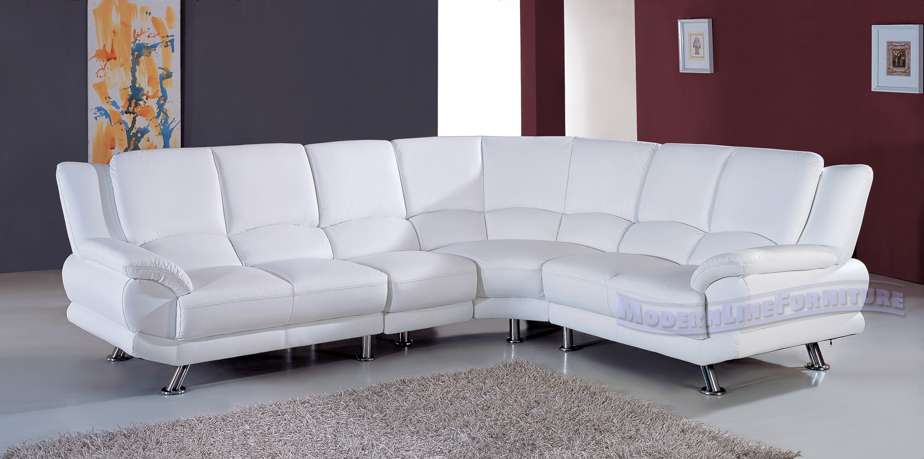 White Sofas With Unique Ambiance: Modern White Leather Sectional Sofa