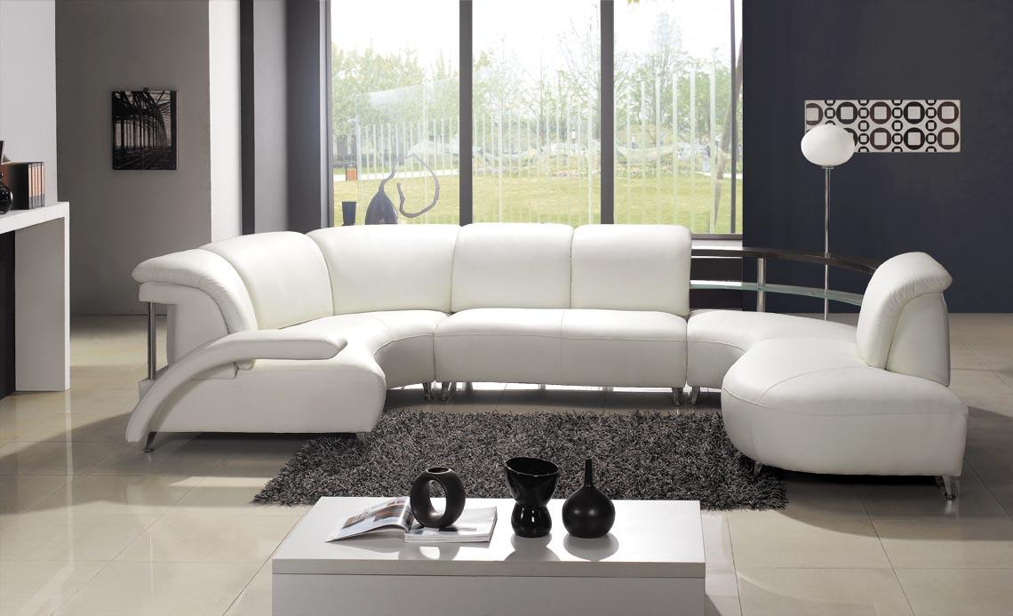 White Sofas With Unique Ambiance: Modern White Leather Unique Sectional Sofa In Living Room